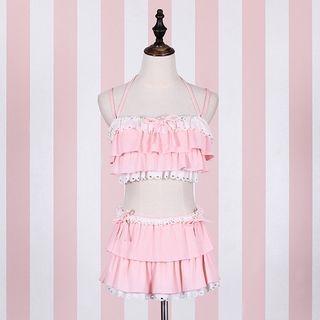 Set: Ruffled Bikini Top + Swim Skirt 1065115600