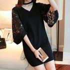 Cutout Bell-Sleeve Lace Panel Knit Dress 1596