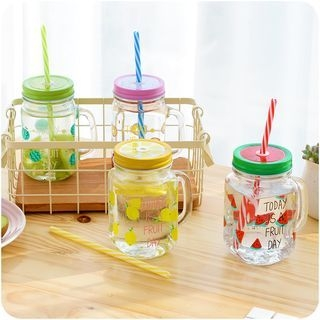Printed Glass Drinking Cup with Straw 1059910892