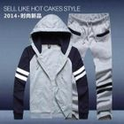 Set: Striped Color-Block Hooded Jacket + Sweatpants 1596