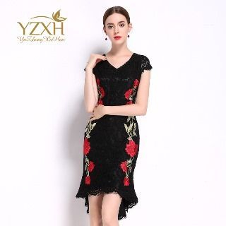 Image of Cap-Sleeve Sheath Embroidery Dress