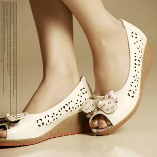 Buy Kvoll Bow Rhinestone Perforated Wedges Pumps 1022532877