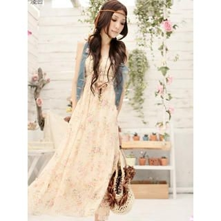 Buy Tokyo Fashion Floral Chiffon Maxi Dress 1022882804