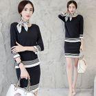 Set: Striped-Trim Sweater + Pencil Skirt 1596