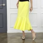 Band-Waist Ruffle-Hem Long Skirt 1596