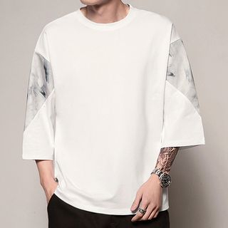 Image of 3/4-Sleeve Letter Print T-Shirt