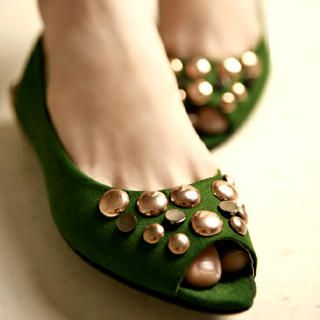 Buy Kvoll Studded Peep-Toe Flats 1022654368