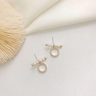 Rhinestone   Earring   Pearl   Hoop   Faux   Gold   Size   Bar   One