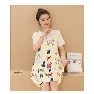 Maternity Set: Short-Sleeve Plain T-Shirt + Strappy Printed A-line Dress 1058281714