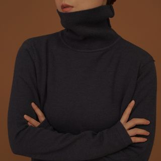 Long-sleeve Turtle Neck Knit Top