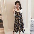Set: Maternity Top + Floral Jumper Dress 1596