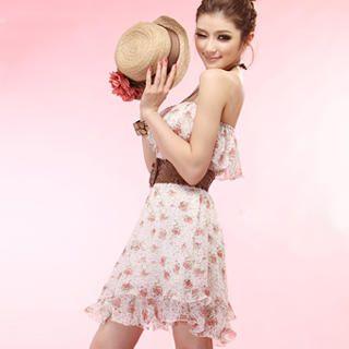 Buy Tokyo Fashion Strapless Ruffle Floral Chiffon Dress 1022963956