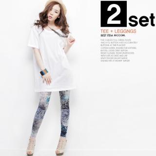 Buy Beccgirl Set: Short-Sleeve Oversized Top + Print Leggings 1022844699