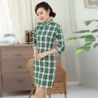 3/4-Sleeve Check Cheongsam 1596
