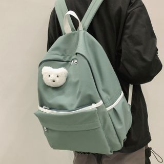 Image of Bear Brooch Nylon Backpack