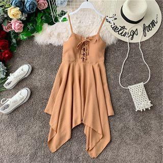 Irregular | Spaghetti | Strap | Dress | Lace | Up