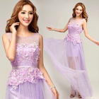 Sleeveless Lace Appliqu  Sheath Evening Gown 1596