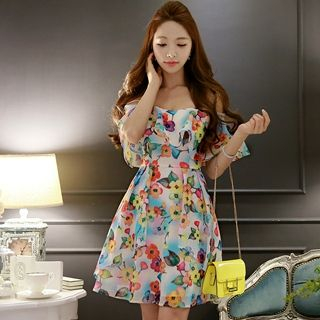 Spaghetti-Strap Layered Printed A-Line Dress 1051127108