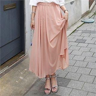 Band-Waist Chiffon Long Skirt 1050790450