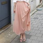 Band-Waist Chiffon Long Skirt 1596