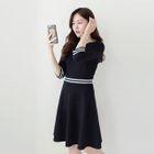Elbow-Sleeve Contrast-Trim A-Line Dress 1596