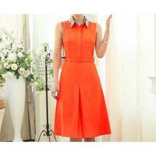 Sleeveless Collared Midi Dress 1040248039