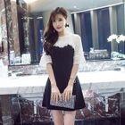 Elbow-Sleeve A-Line Panel Lace Sheath Dress 1596