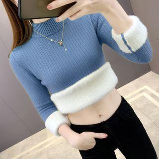 Mock-turtleneck Fleece-lined Knit Top