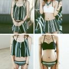 Set: Striped Bikini + Swim Shorts + Cover-Up 1596