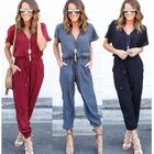 Short-Sleeve V-Neck Jumpsuit 1596