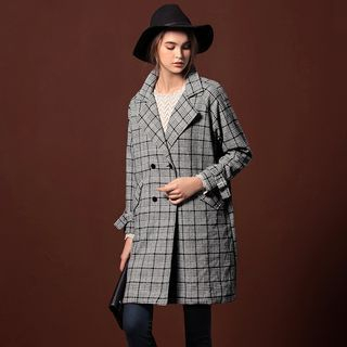 Houndstooth Woolen Notched Lapel Coat 1056539202