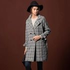 Houndstooth Woolen Notched Lapel Coat 1596