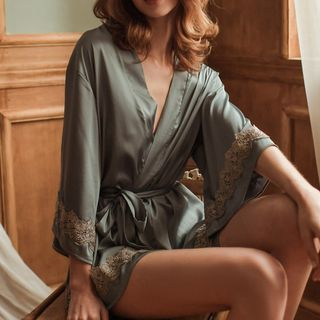 Image of Elbow-Sleeve Lace Robe