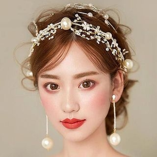Wedding Set: Floral Hair Band + Drop Earring 1065435083