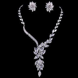 Image of Set: Rhinestone Leaf Necklace + Floral Earring