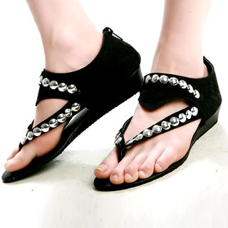 Buy Kvoll Genuine Suede Studded Sandals 1022740803