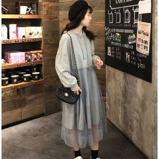 Image of Mesh Panel Hooded A-Line Dress