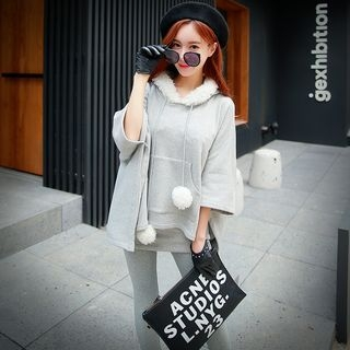 Pompom-Accent Hooded Cape Top 1057046966