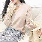 Long-Sleeve Cutout Lace Panel Knit Pullover 1596
