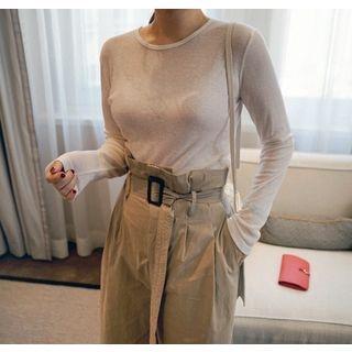 Long-Sleeve Sheer Slim-Fit T-Shirt 1061972711