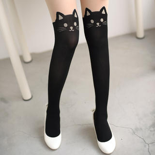Cat Print Tights Black and Nude - One Size 1033435437