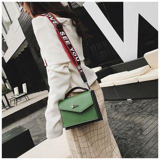 Lettering Strap Color Block Crossbody Bag