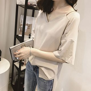 Plain V-Neck Elbow-Sleeve T-Shirt 1050753764
