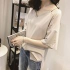 Plain V-Neck Elbow-Sleeve T-Shirt 1596