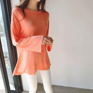 Drop-Shoulder Slit-Side Knit Top 1058255242