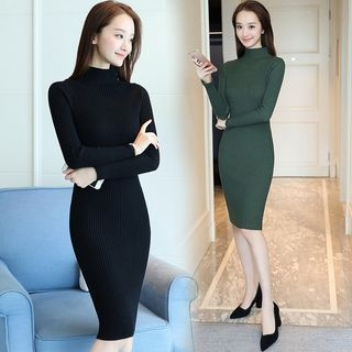 Mock Neck Rib Knit Dress 1062074264