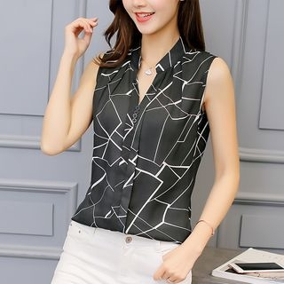 Collared Sleeveless V-Neck Printed Top 1059580706