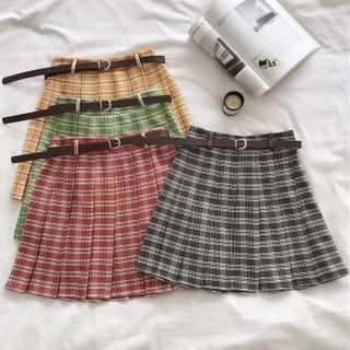 Image of Belted Plaid Mini A-Line Pleated Skirt