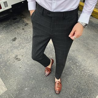 Image of Checked Cropped Straight-Fit Pants
