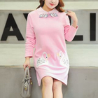 Swan Embroidered Collared Long Sleeve Dress 1596